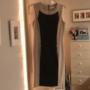 Black and Tan color block Calvin Klein work dress
